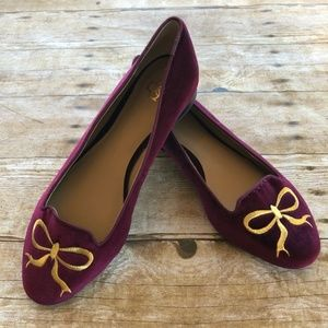 Ann Taylor Maroon and Gold Embroidered Bow Flats